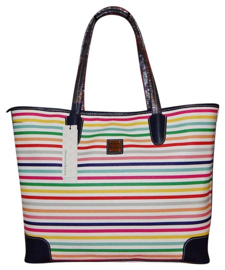 Preload https://item3.tradesy.com/images/dooney-and-bourke-lois-striped-multi-color-coated-cotton-tote-14883262-0-3.jpg?width=440&height=440