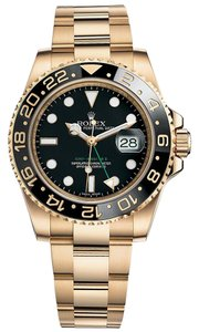 Rolex Rolex GMT-Master II 18K Yellow Gold Watch Black Ceramic Bezel 116718