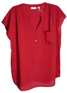 New York & Company Buttons Pocket Top * Red