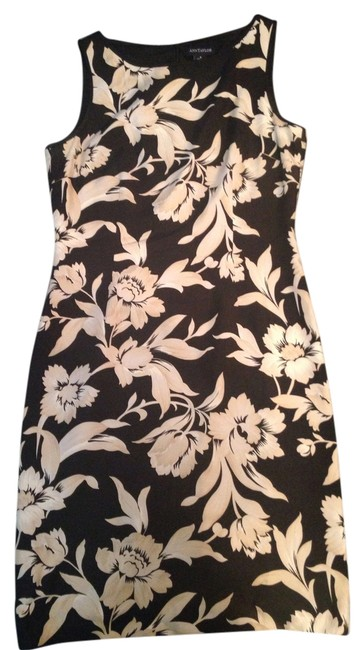 Preload https://item5.tradesy.com/images/ann-taylor-black-and-beige-silk-mid-length-cocktail-dress-size-8-m-14883694-0-1.jpg?width=400&height=650