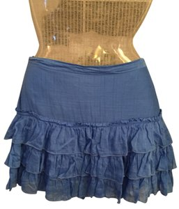 French Connection Mini Ruffle Sexy Mini Skirt Canary Blue