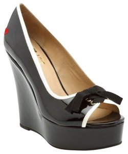 Love Moschino Peep Toe Wedge Bow Pump Black Patent Wedges