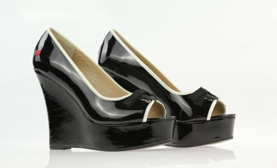 Love Moschino Peep Toe Bow Pump Black Patent Wedges