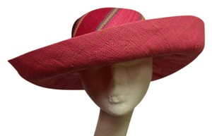 Be You Fashions Pink Stripe Wide Brim Hat made out of Woven Raffia