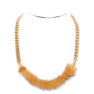 Other Brown Rabbit Fur Gold Chain Necklace Jewelry