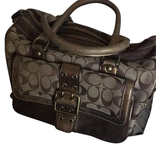 Preload https://item4.tradesy.com/images/coach-gold-leather-suede-canvas-satchel-14884543-0-1.jpg?width=440&height=440