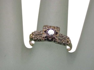 Fabulous! Estate 14K 2-Tone Gold Filigree .40ct VS/G Old European Cut Diamond Ring ,ART DECO,1920s