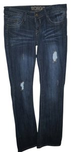 Bongo Blue Distressed Distressed Boot Cut Jeans-Distressed