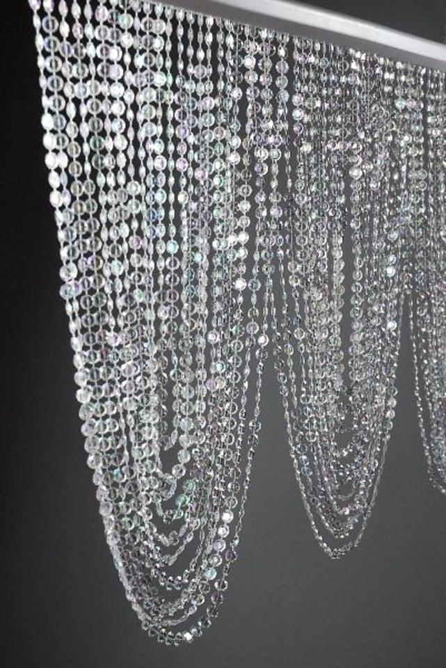 Clear Set Of 2 Diamond Beaded Crystal Valances 3 Feet Wide