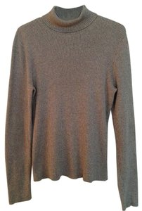Liz & Co. Turtleneck Brown Cotton Knit Fitted Sweater