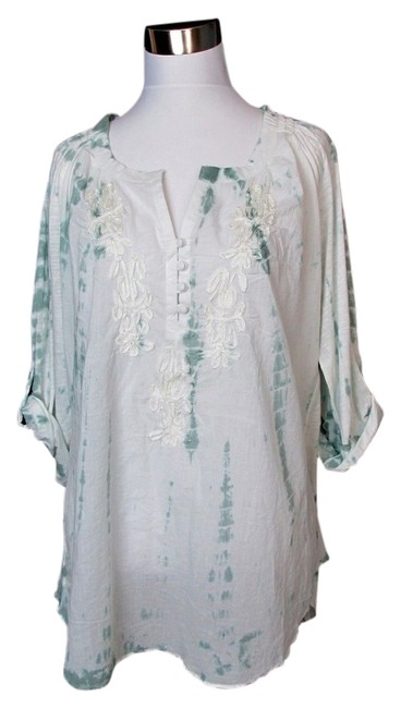 Item - Green Boho Peasant Tunic Tie Dye White Xxl Blouse Size 18 (XL, Plus 0x)