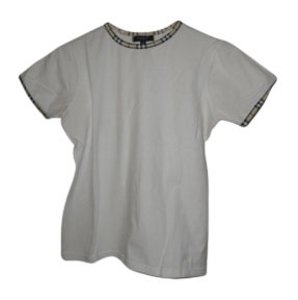 Burberry T Shirt White & Burberry Plaid Trim