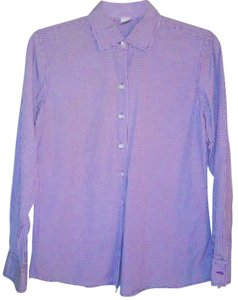 Geoffrey Beene Checkered Cotton White Button Down Shirt Purple White