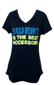 Tek Gear Workout Exercise V Neck Top Graphic T Shirt Sweat is the Best Accessory Large