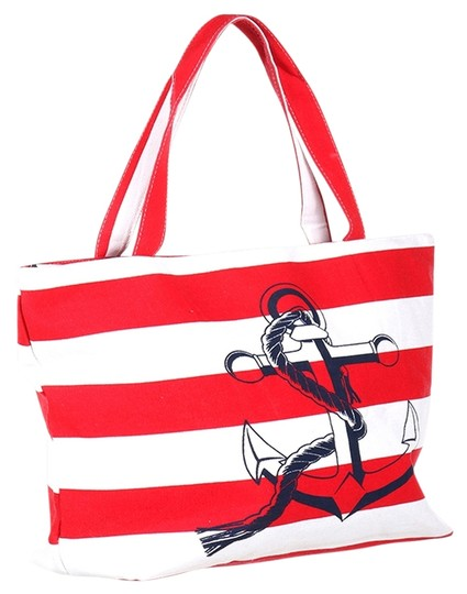 Preload https://item2.tradesy.com/images/nautical-stripe-anchor-weekend-beach-red-white-polyester-cotton-tote-14885491-0-1.jpg?width=440&height=440