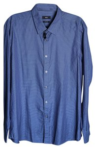 Hugo Boss Mens Dress Shirt Stripes Button Down Shirt Blue