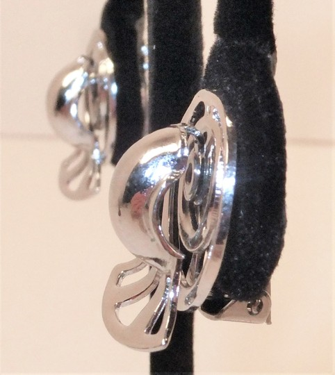 Other Vintage 30-40's Coro Silver clip earrings Art Deco Abstract Industrial unique