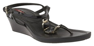 Prada Patent Leather Sandals Stone Black Wedges