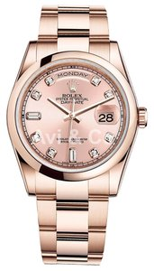 Rolex Rolex Day-Date 36 18K Everose Gold Watch Pink Champagne Diamond Dial