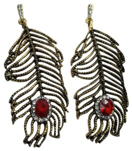 Metal Feather Fashion Earrings -Vegas Style- w Free Shipping