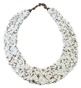 Anthropologie White & Bronze Beaded Woven Collar Necklace