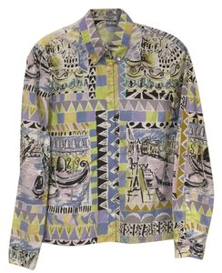 Prada Button Down Shirt Black, White, Blue, Yellow, Purple, Green