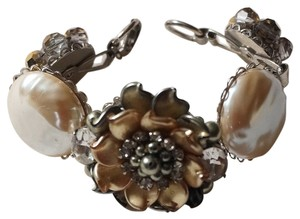 Ingemnuity One of a Kind Chunky Bridal Pearl Rhinestone Crystal Flower Bracelet