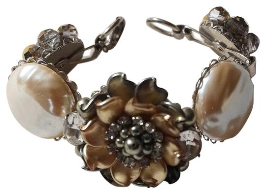 Preload https://item3.tradesy.com/images/ivory-gold-gray-one-of-a-kind-chunky-bridal-pearl-rhinestone-crystal-flower-bracelet-14886322-0-1.jpg?width=440&height=440