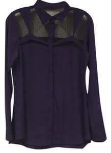 Nanette Lepore Button Down Shirt Purple, Black