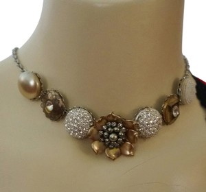 Ingemnuity One of a Kind Chunky Bridal Pearl Rhinestone Crystal Flower Necklace