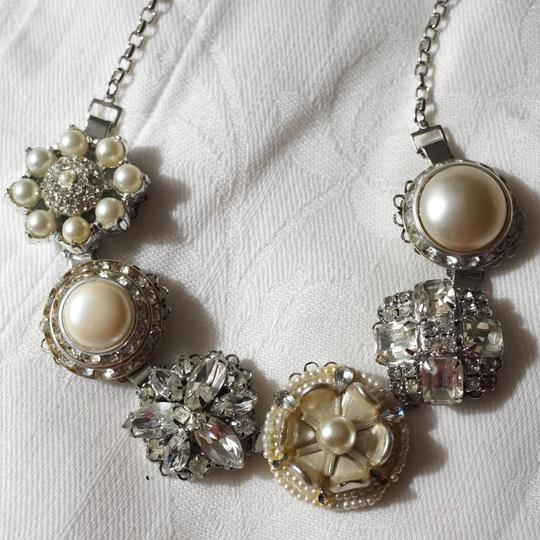 Ingemnuity Chunky Bridal Pearl Rhinestone Glass Flower Necklace One of a Kind