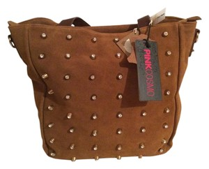 Pink Cosmo Suede Leather Tote in tobacco