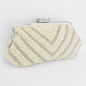 Rhinestone Crystal Accent Pearl Clutch Chain Purse Evening Bag