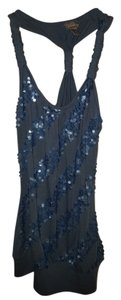 Vanity Racer-back Sequined Dress Shirt Top Blue