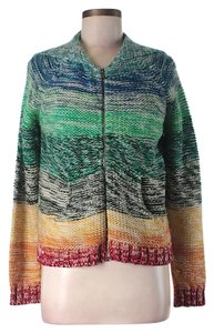 Free People Hooded Rainbow Striped Cardigan