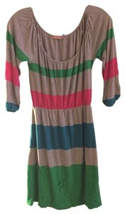 Juicy Couture short dress Gray, pink, green Striped on Tradesy