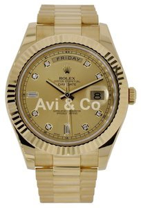 Rolex Rolex Day-Date II 18K Yellow Gold Watch Champagne Diamond Dial 218239