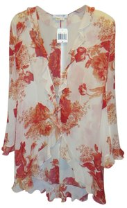 Kay Unger New W/Tags Silk Duster / Jacket Floral Top Creme / Coral / Burnt Orange /Gold