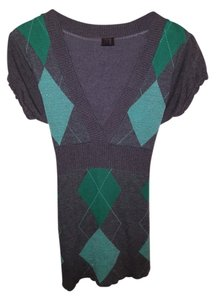 Vanity Argyle Sweater Short Sleeve Top Gray and mint