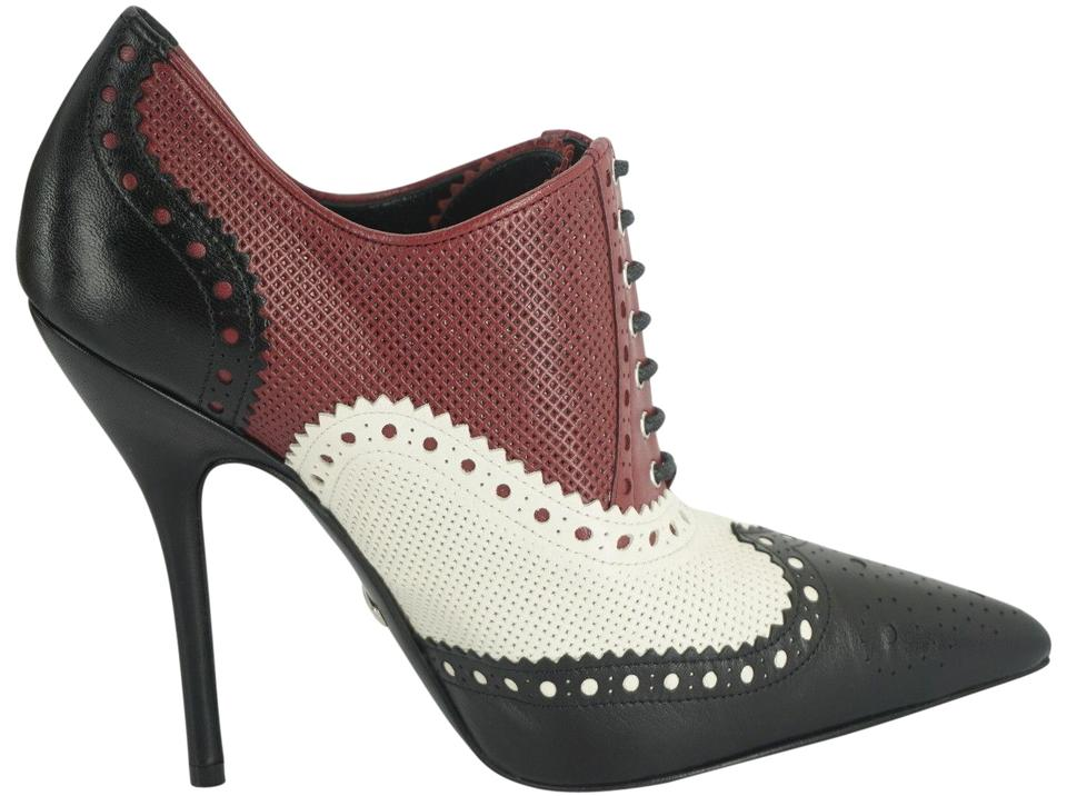 18e1ca4c6e5c Gucci Multicolor Leather Gia Pointy Wingtip High Heel Lace Up Oxford Pump  Boots Booties