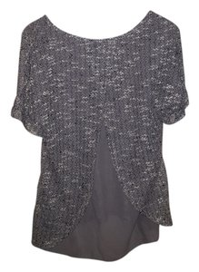 Vanity Knit Sweater Top Gray and white