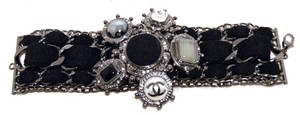 Chanel Chanel Black Wool and Gunmetal Charms Bracelet-limited Edition