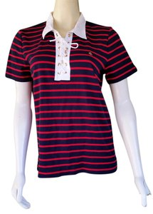 Lauren by Ralph Lauren Nautical Ties Striped Navy T Shirt Navy Blue