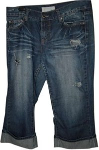 Maurices Wide Leg/Relaxed Distressed Size 11/12 Capri/Cropped Denim-Distressed