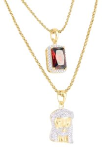 Other 14k Yellow Gold On Silver Jesus Face Red Ruby Garnet Pendants Chains Combo Set