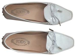 Tod's Patent white leather Flats