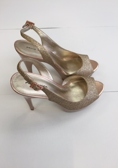 Pelle Moda Evening High Heel Sandals Sandals Peep Toe Sling Back Gold Formal