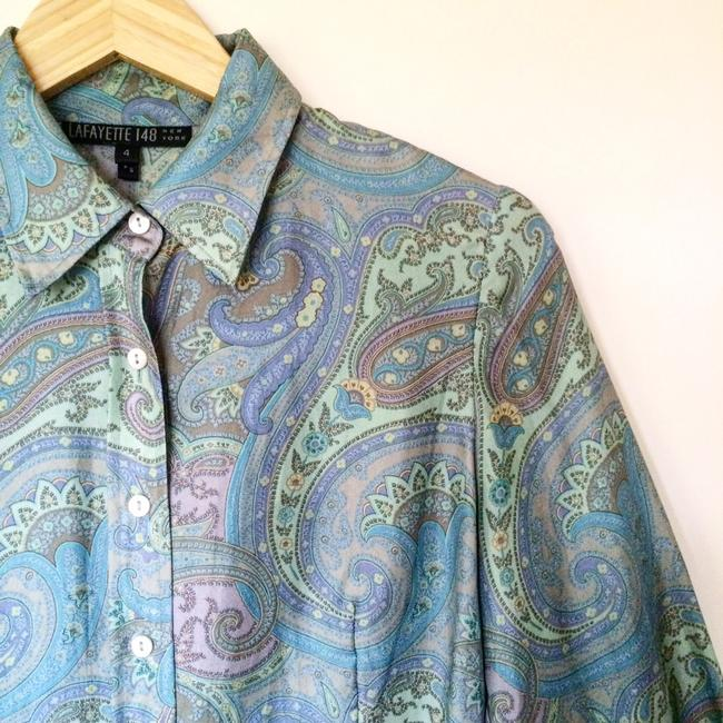 Lafayette 148 New York Blouse Button Down Shirt Silk