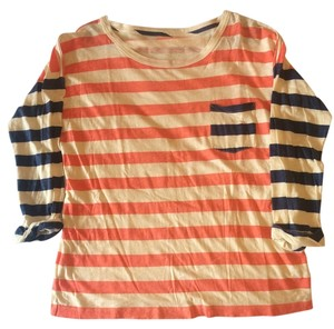 Madewell Longsleeve Striped T Shirt Orange and blue stripes