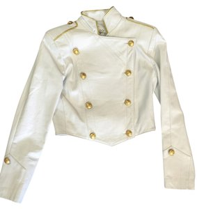 North Beach Leather Cropped Nbl White Leather Jacket